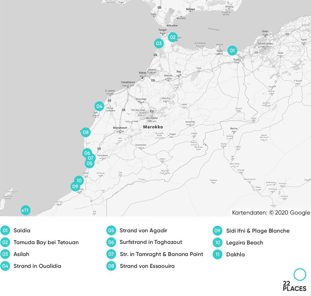 Marokko Strände Karte