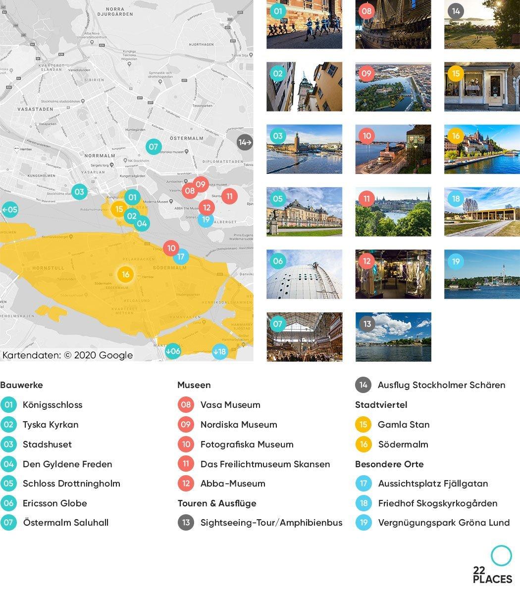Stockholm Sehenswürdigkeiten Karte