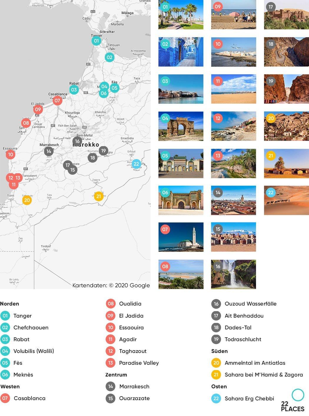 Marokko Sehenswürdigkeiten Karte