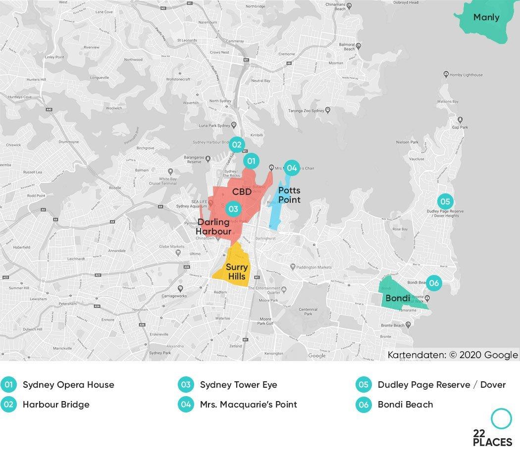 Sydney Hoteltipps Karte