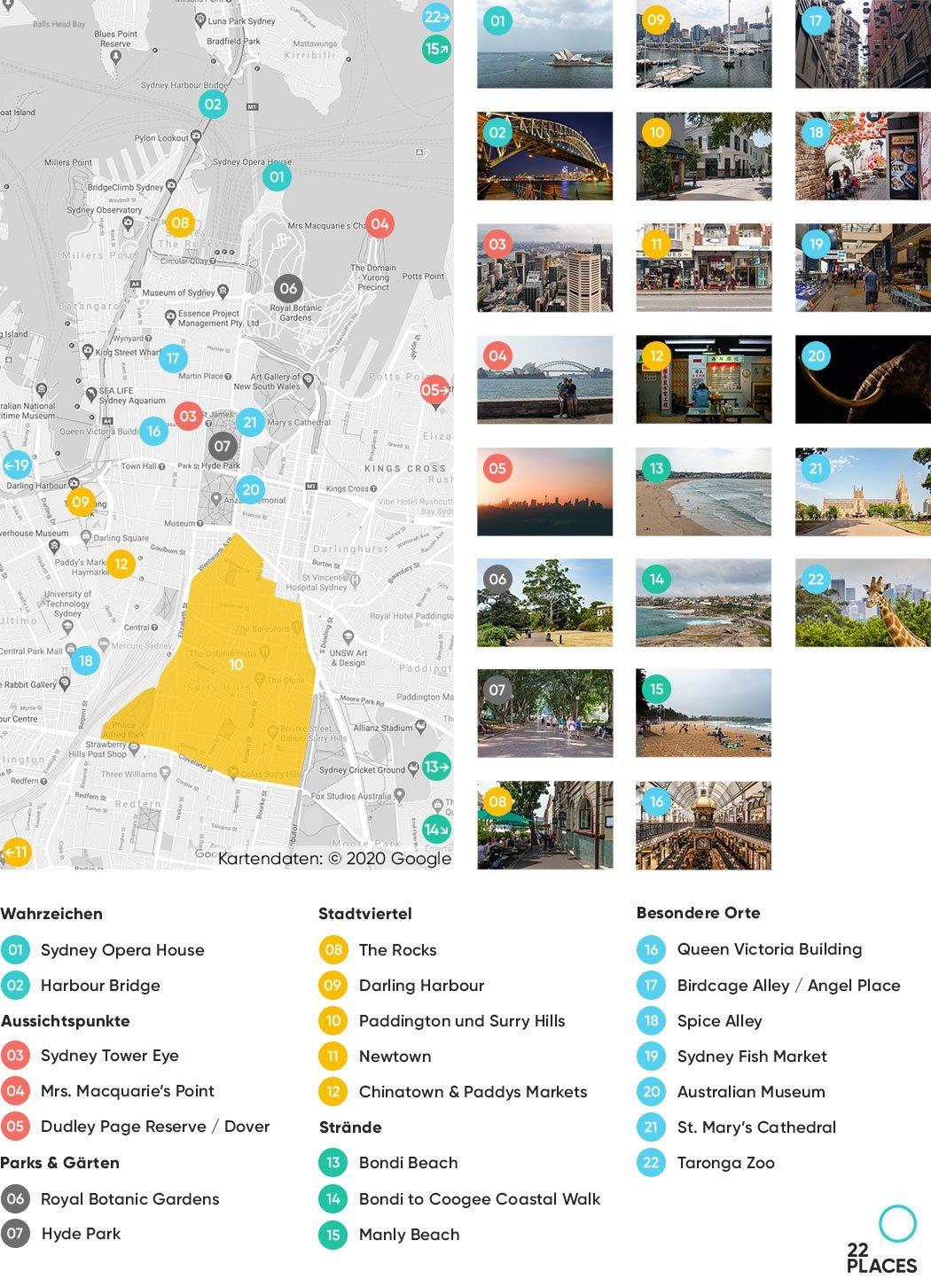 Sydney Sehenswürdigkeiten Karte