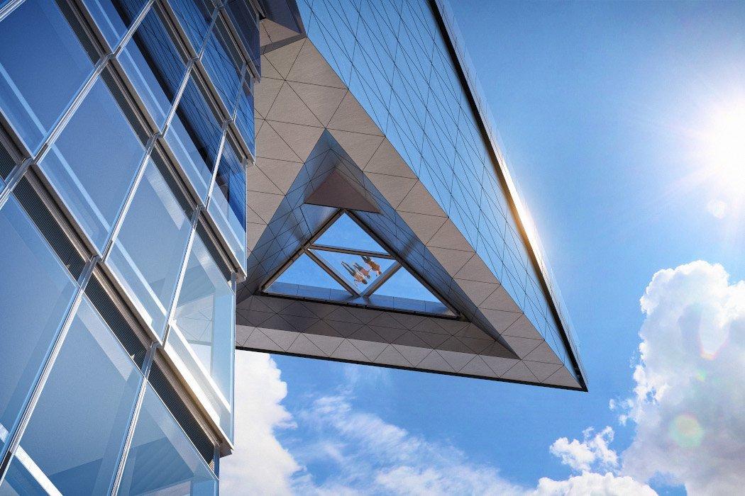 Aussichtsplattform mit Glasboden von unten