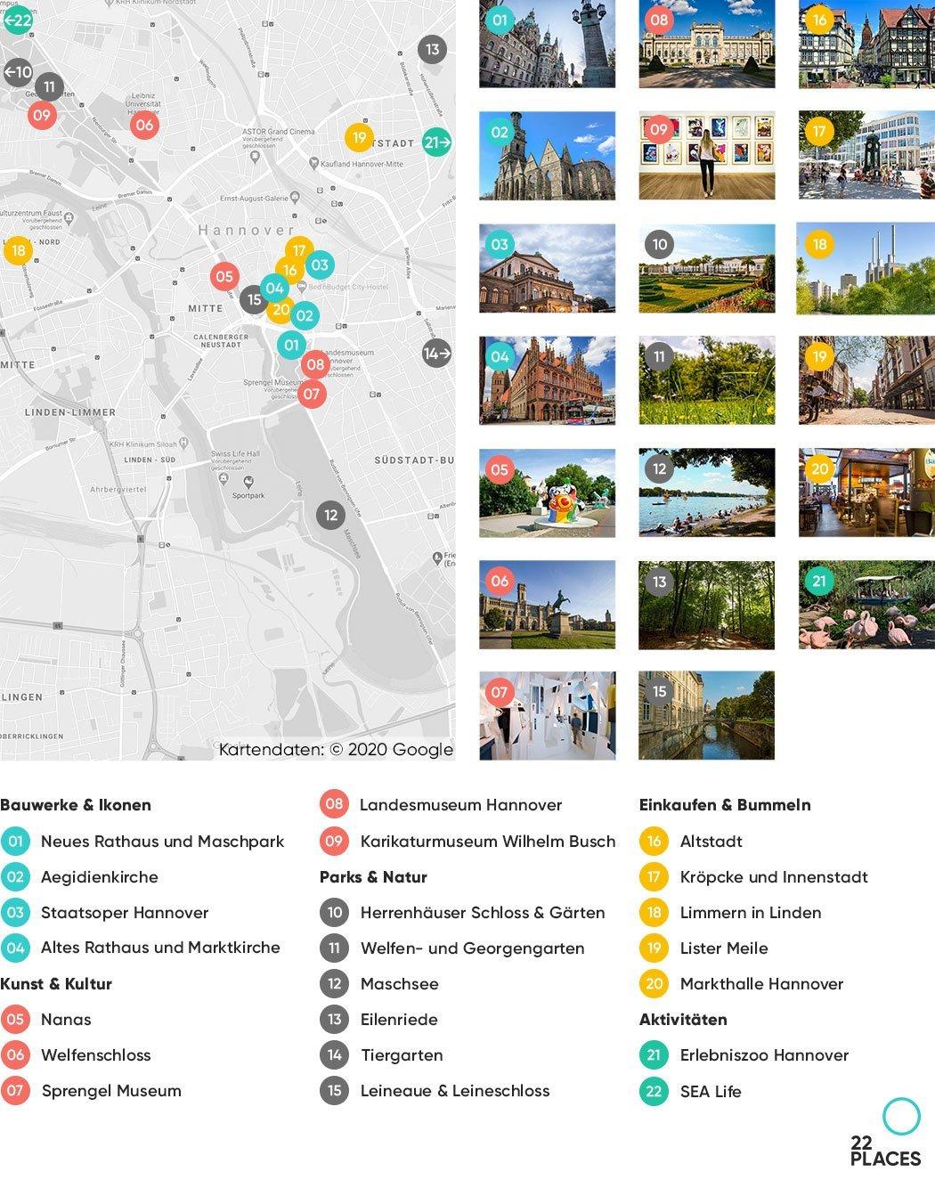 Hannover Sehenswürdigkeiten Karte