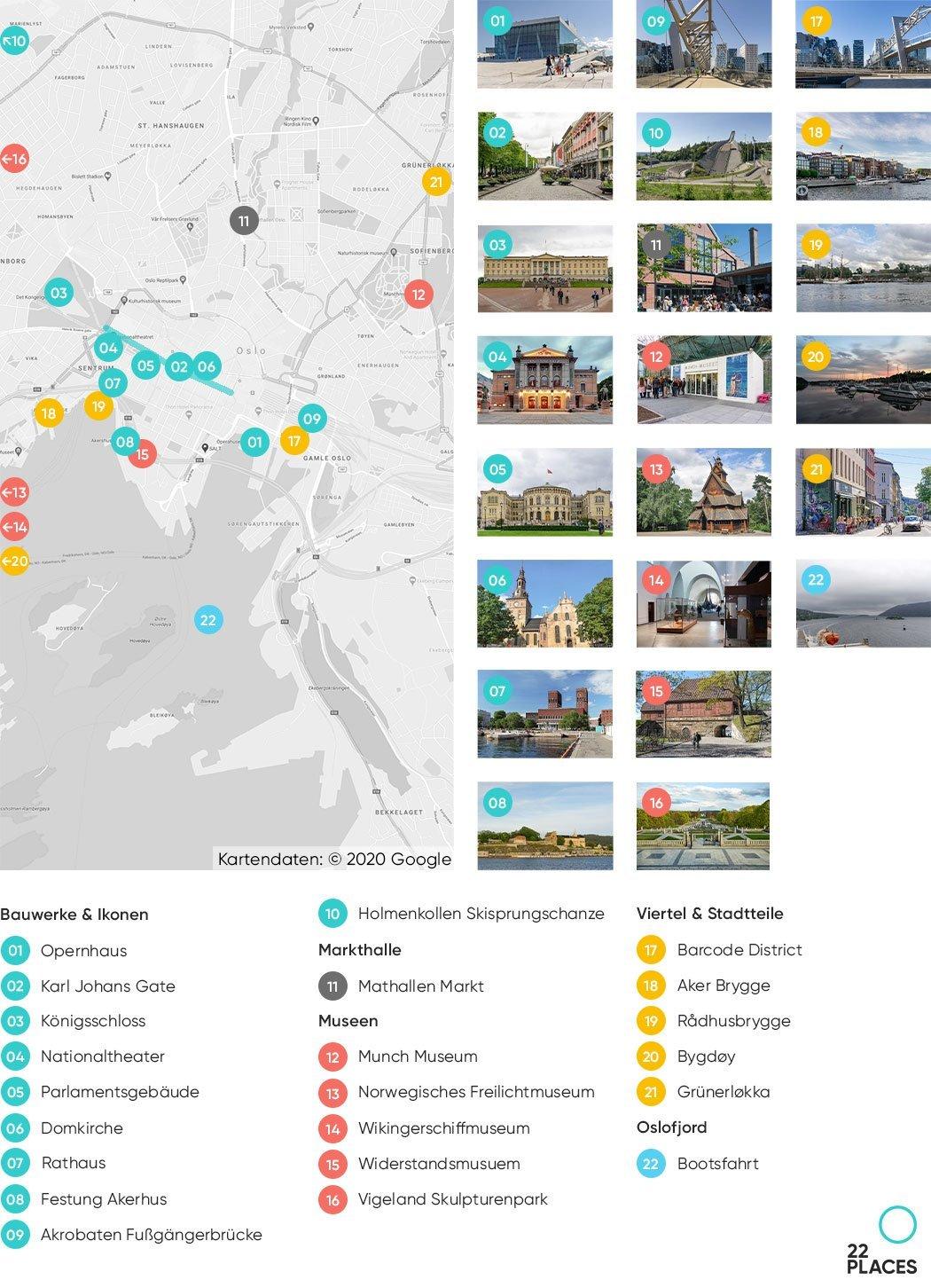 Oslo Sehenswürdigkeiten Karte