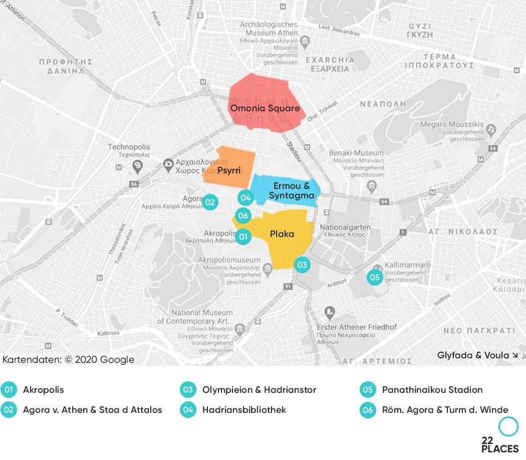 Athen Hoteltipps Karte