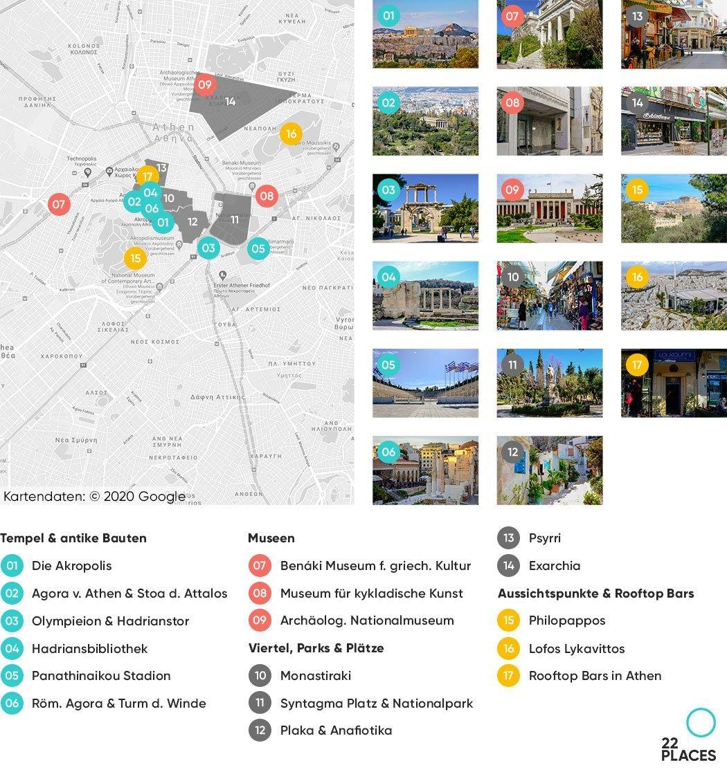 Athen Sehenswürdigkeiten Karte