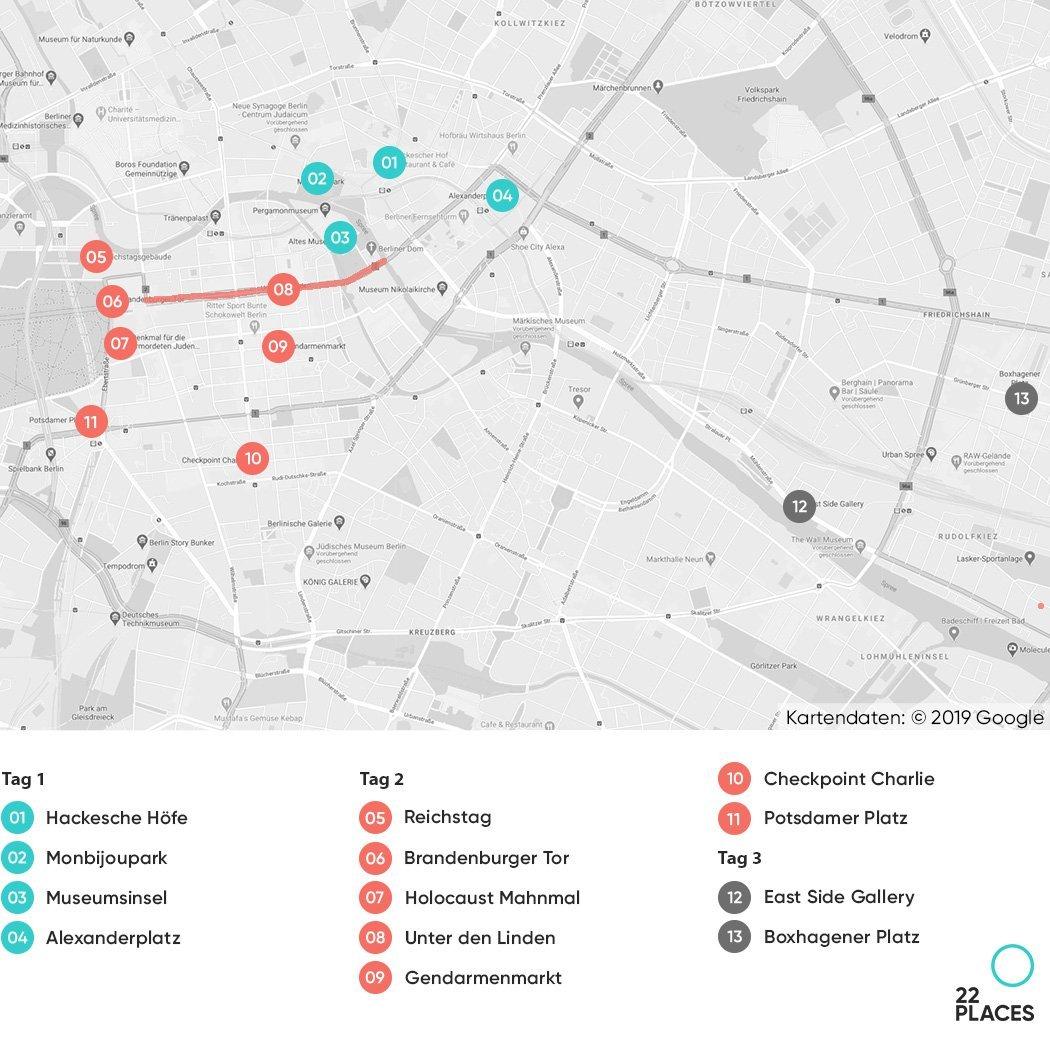 Karte für Berlin Wochenend-Programm