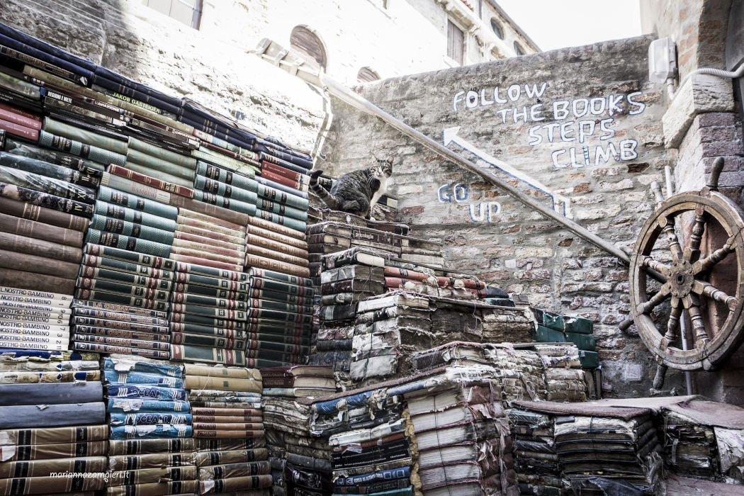 Bücherwand mit einer Treppe aus Büchern