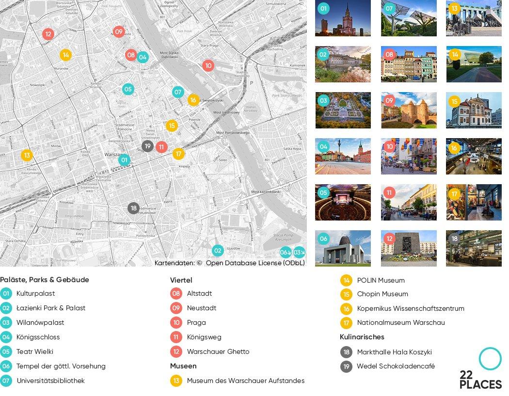Karte der Sehenswürdigkeiten in Warschau