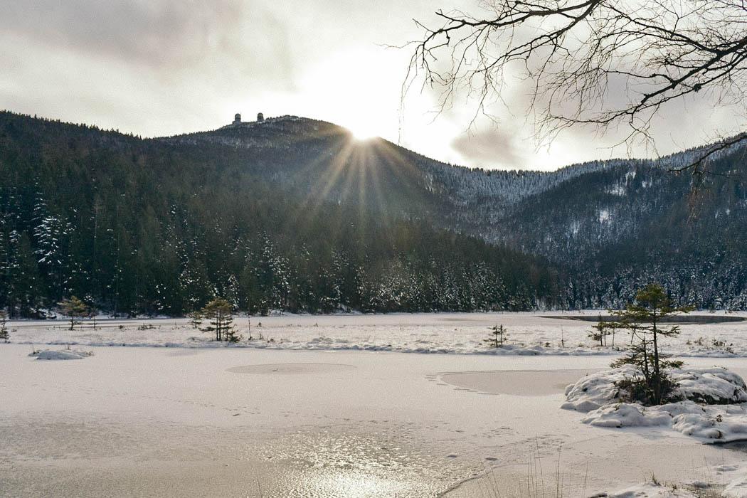Kleiner Abersee im Bayerischen Wald im Winter