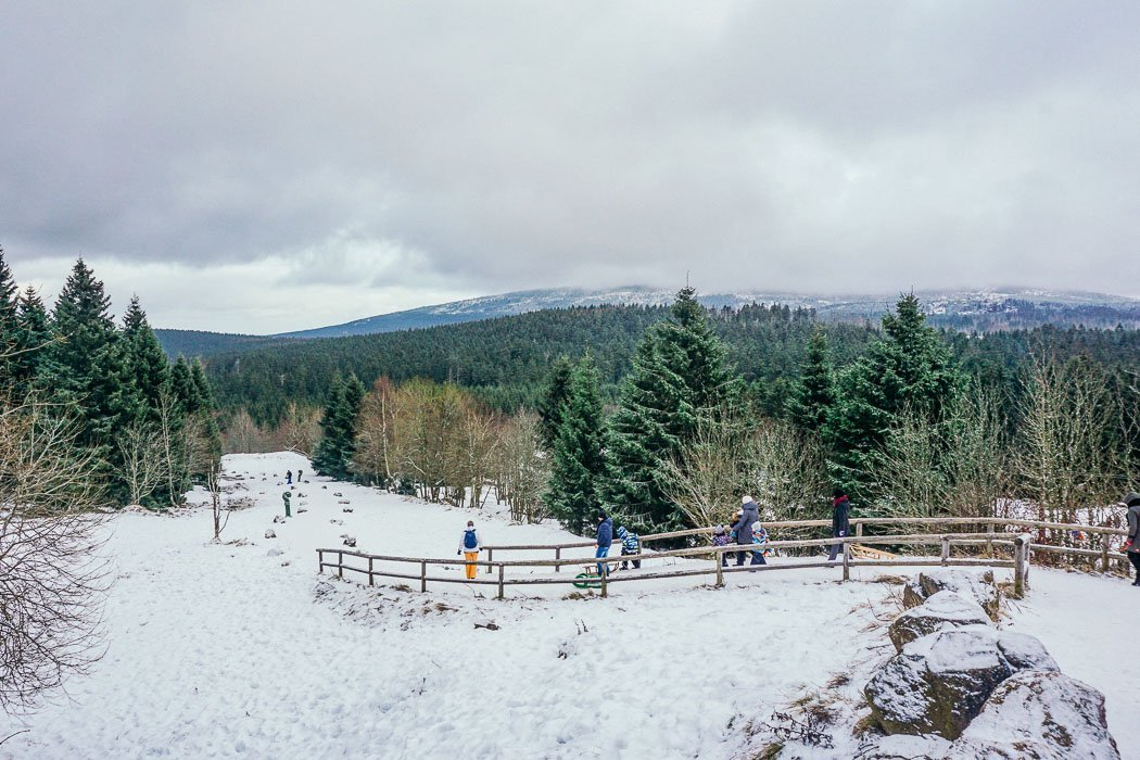 Aussicht über Torfhaus im Harz im Winter