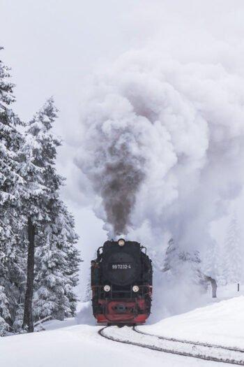 Die Schmalspurbahn im Harz im Winter
