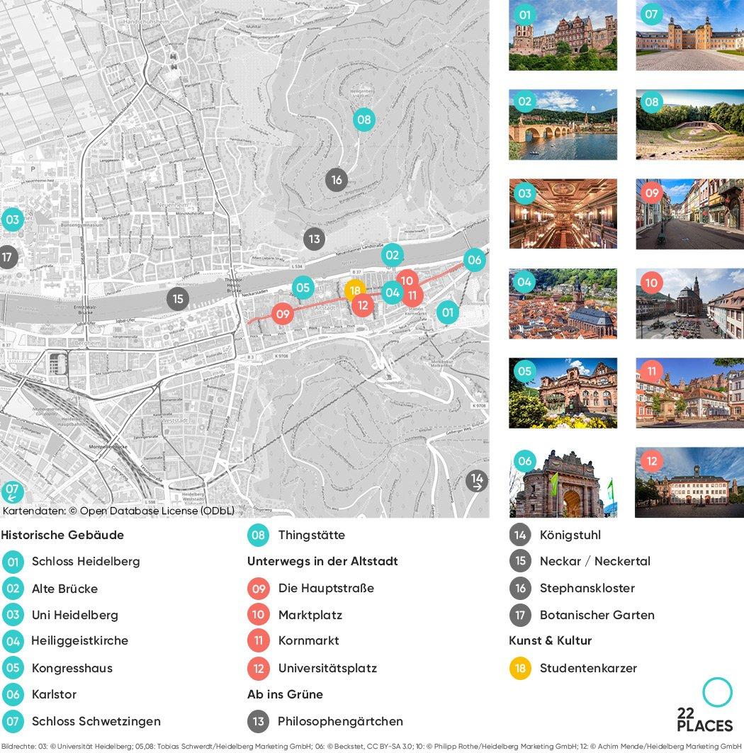 Heidelberg Sehenswürdigkeiten Karte