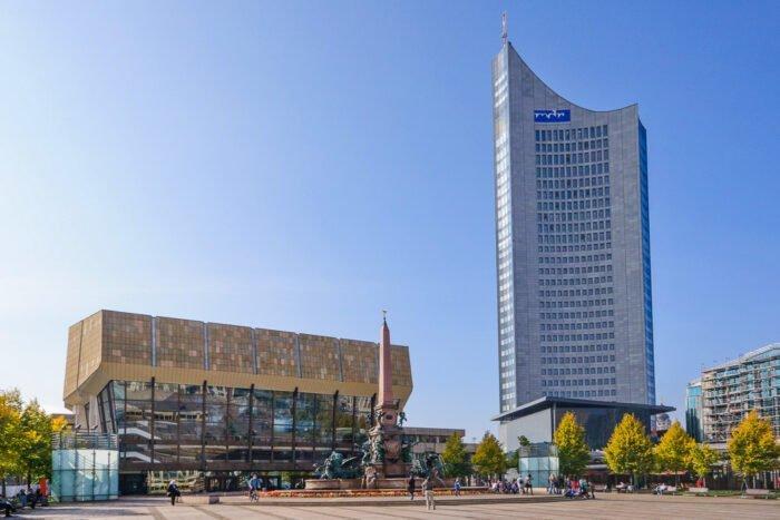 Augustusplatz und Panorama Tower Leipzig