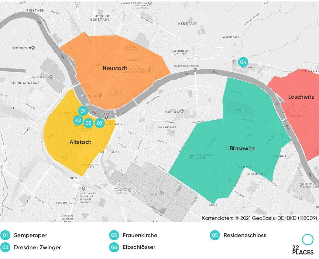 Dresden Hoteltipps Karte