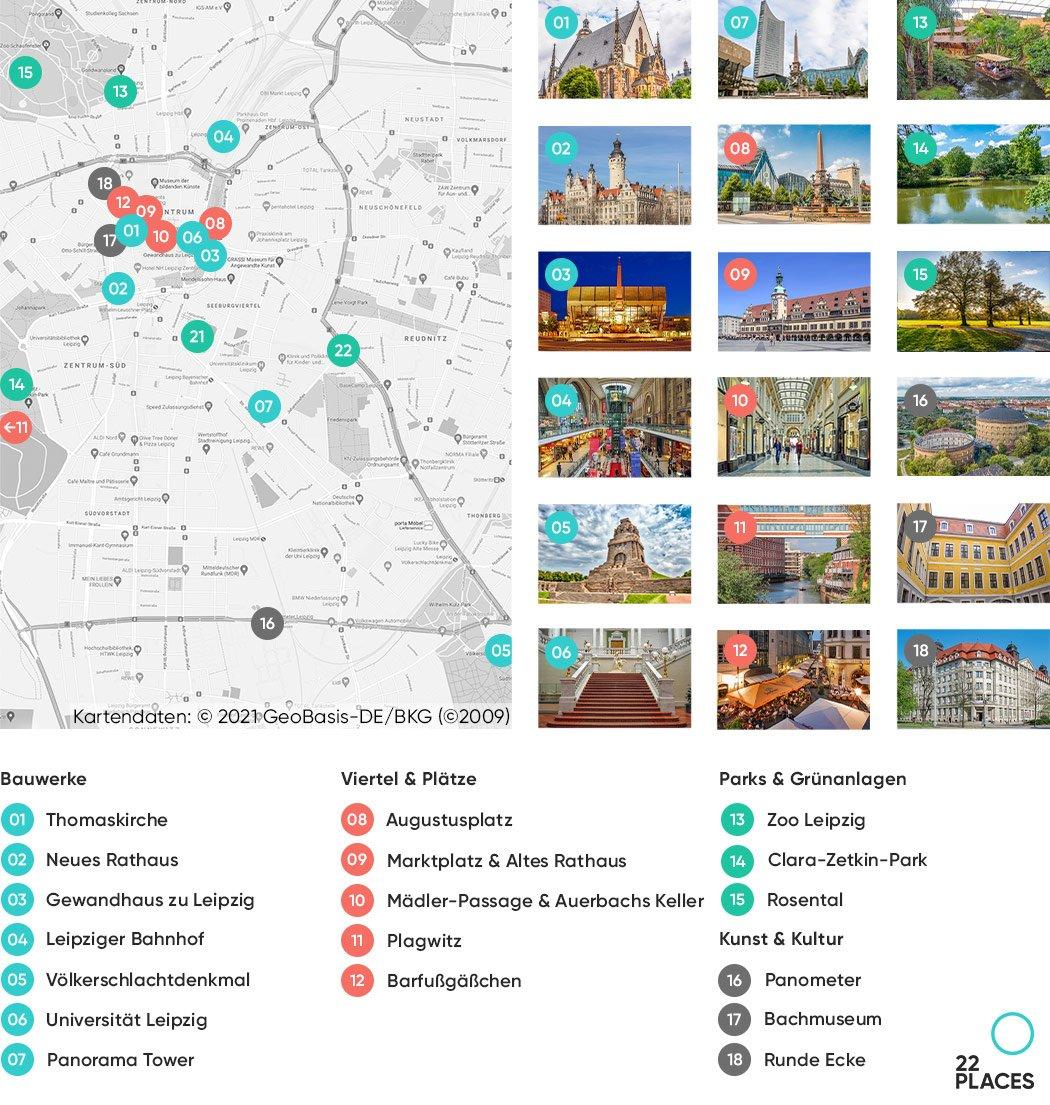 Leipzig Sehenswürdigkeiten Karte