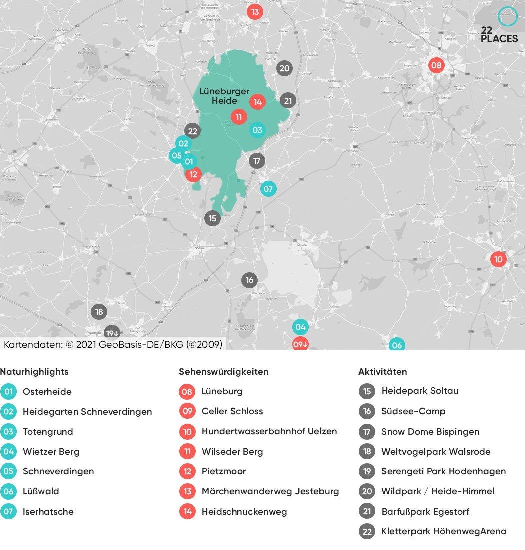 Lüneburger Heide Sehenswürdigkeiten Karte