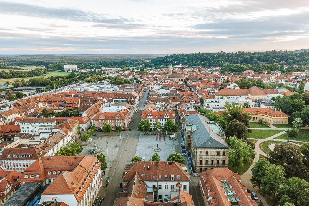Panorama von Erlangen mit Blick auf den Marktplatz