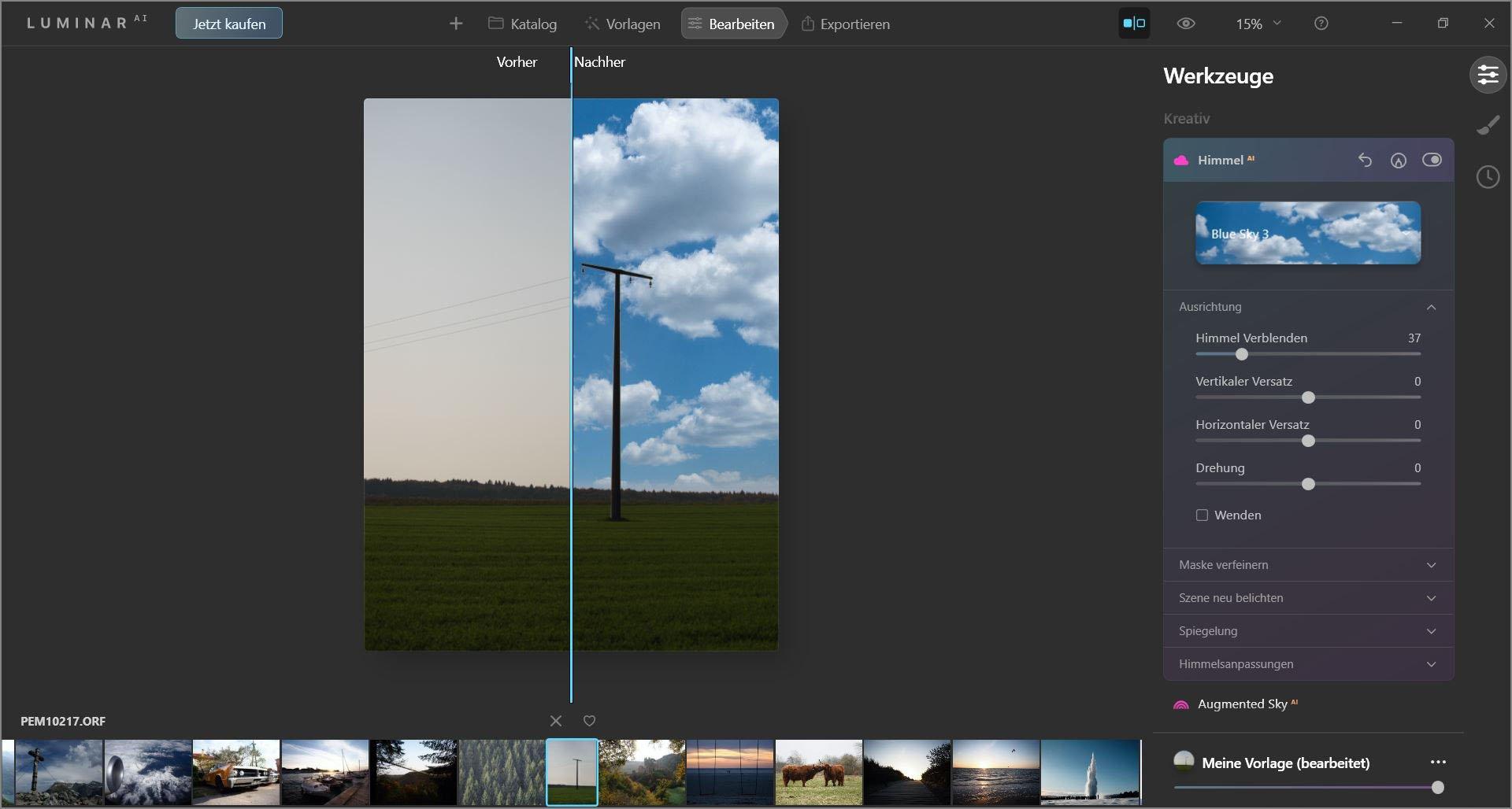 Screenshot der Bildbearbeitung in Luminar AI