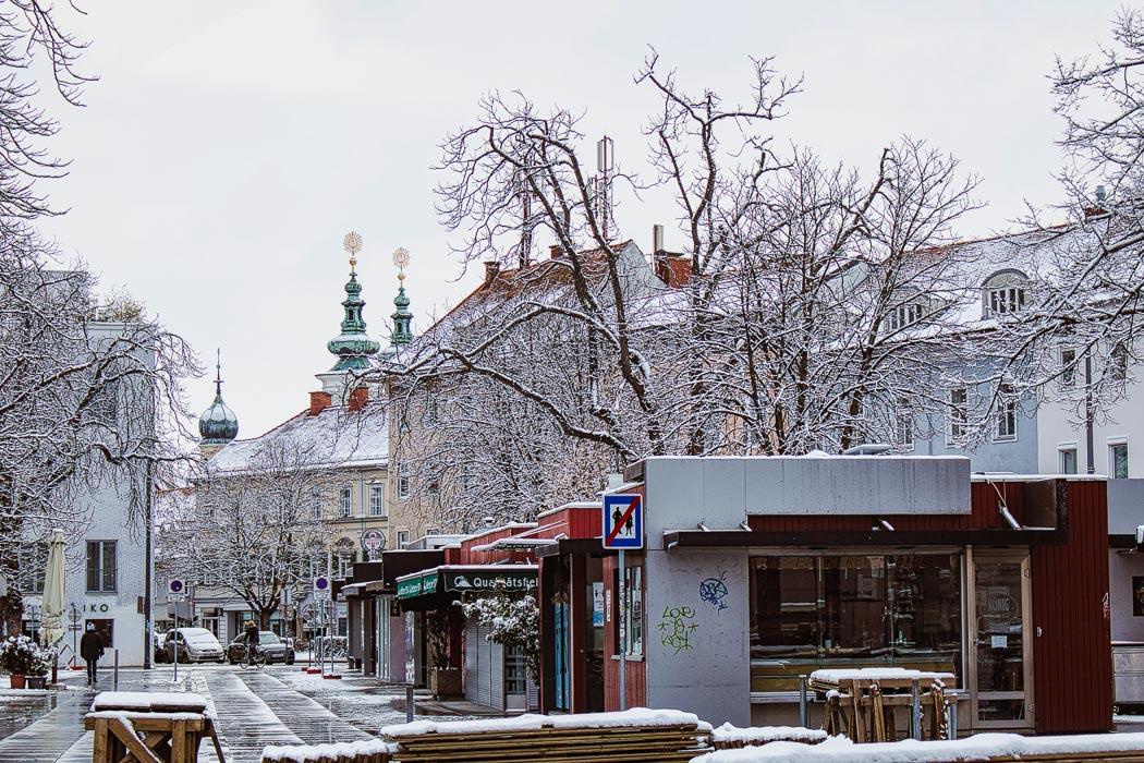 Verschneiter Lendplatz in Graz