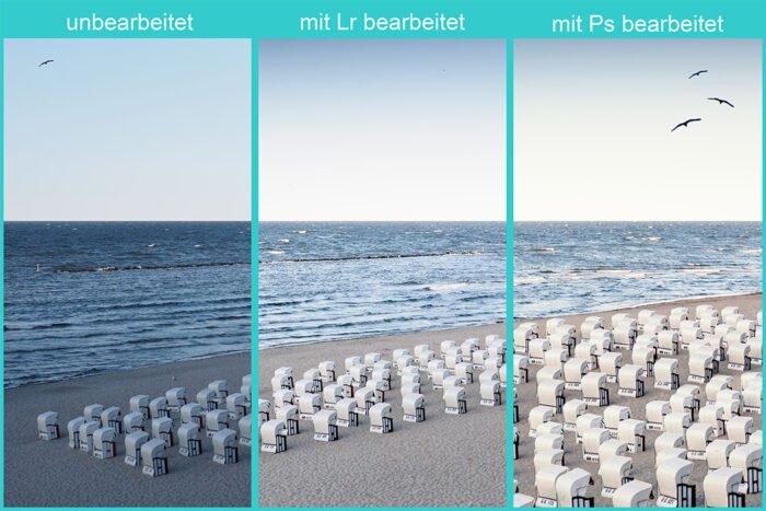 Vergleich eines Originals vs. Bearbeitung mit Lightroom und Photoshop