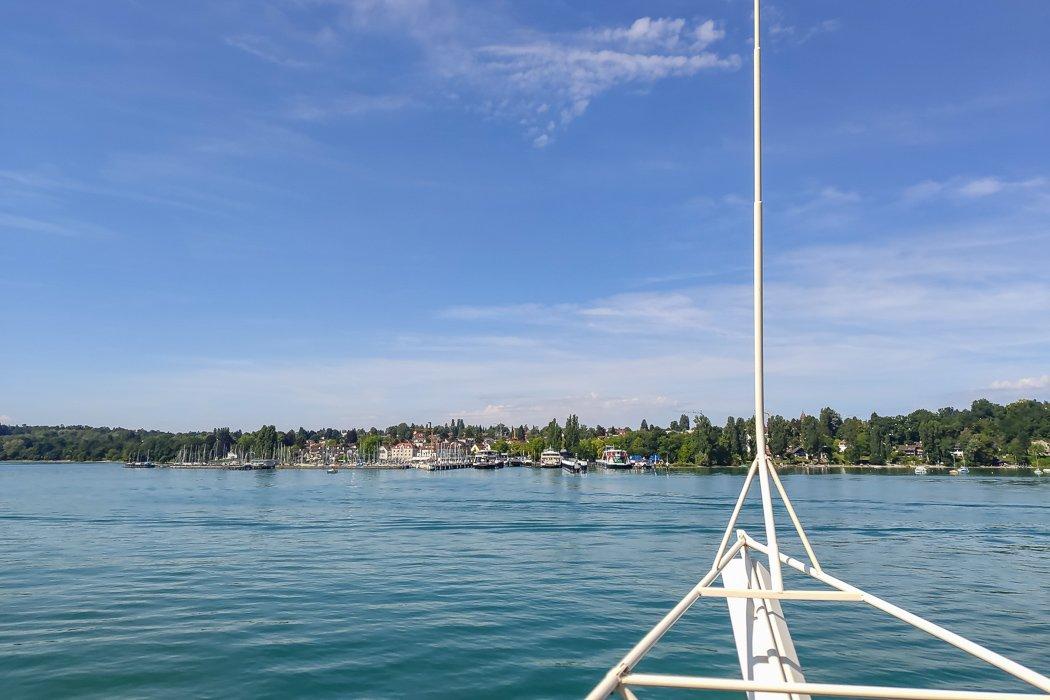 Boot fahren auf dem Bodensee.
