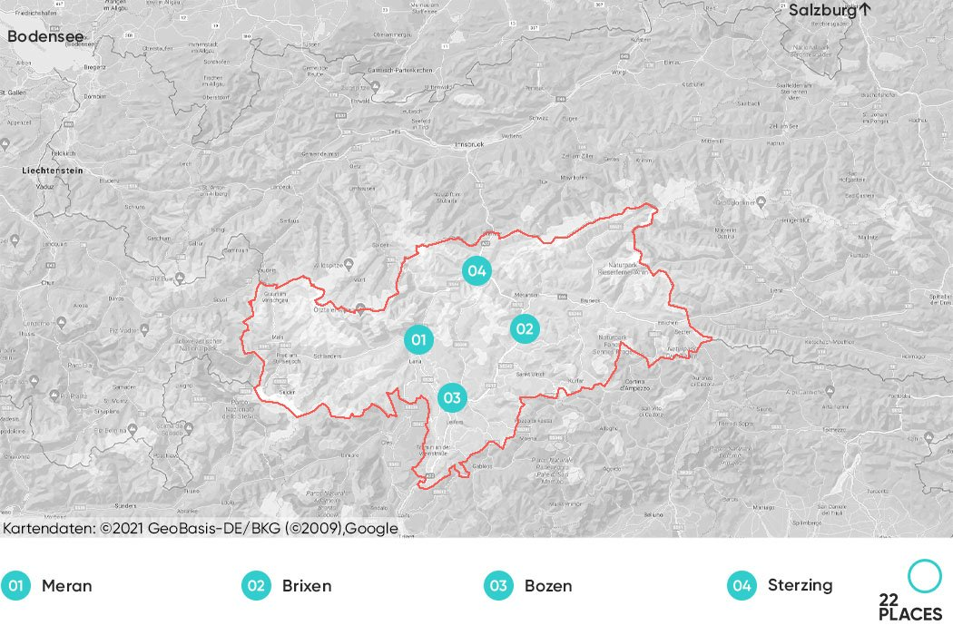 Karte zur Übersicht von Südtirol