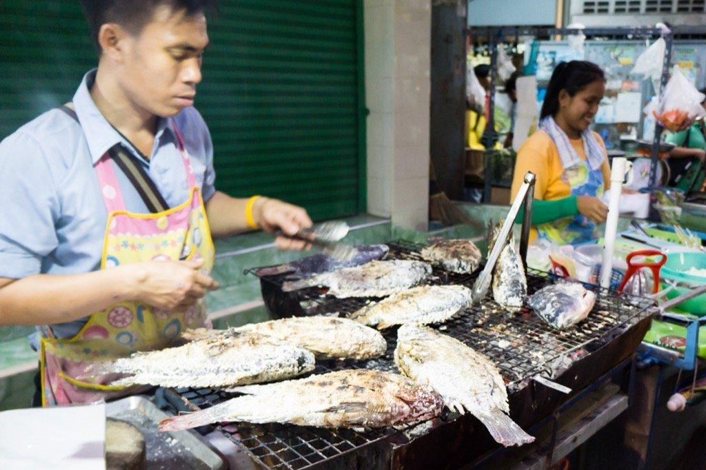 Markt Bangkok während Fahrradtour