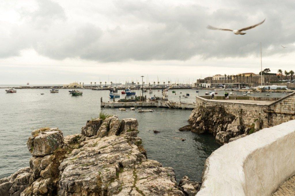 Aussicht auf den Hafen von Cascai von der Rua Fernandes Thomas